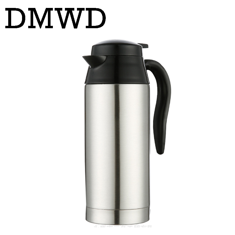 DMWD 750ML Car Heating Cup Auto 12V 24V Stainless Steel electric Kettle Travel Heated Coffee Hot Water Boiling Thermal Heater car mounted magnetized electric water heating cup blue transparent 250ml 12 24v