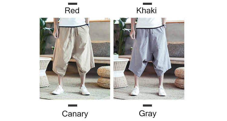 MRDONOO Men Pants Men's Wide Crotch Harem Pants Loose Large Cropped Trousers Wide-legged Bloomers Chinese Style Flaxen Baggy 93