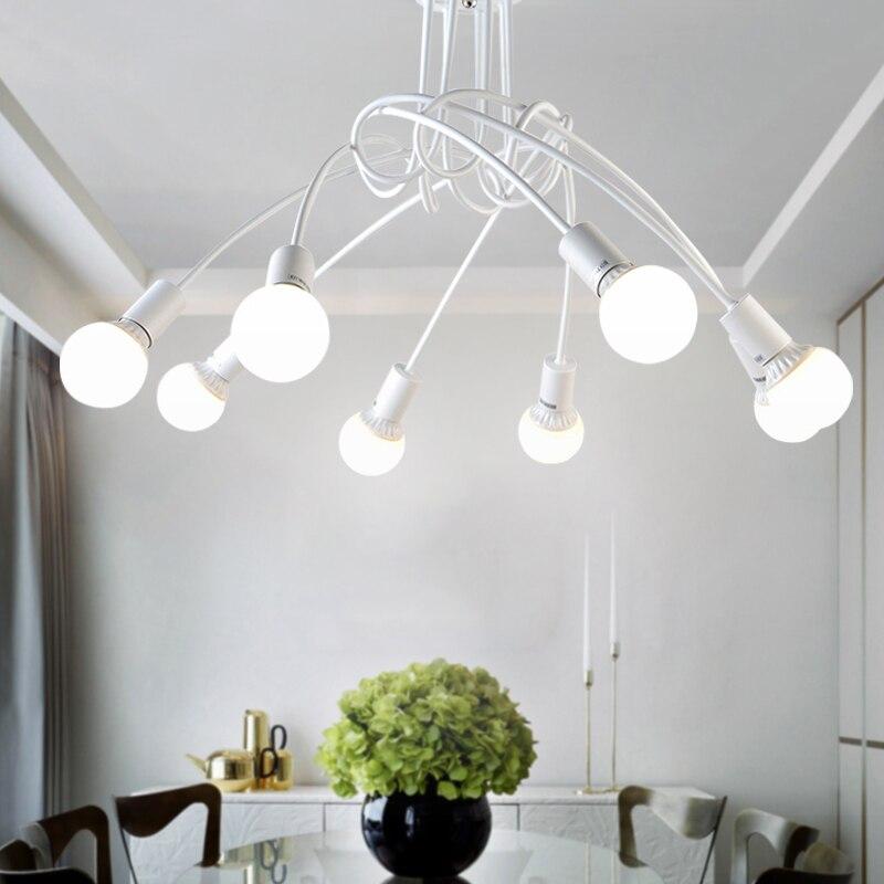 Lámparas de techo LED de hierro forjado americano, sala de estar E27 moderna para lámpara de techo, iluminación para el hogar, lámparas blancas y negras