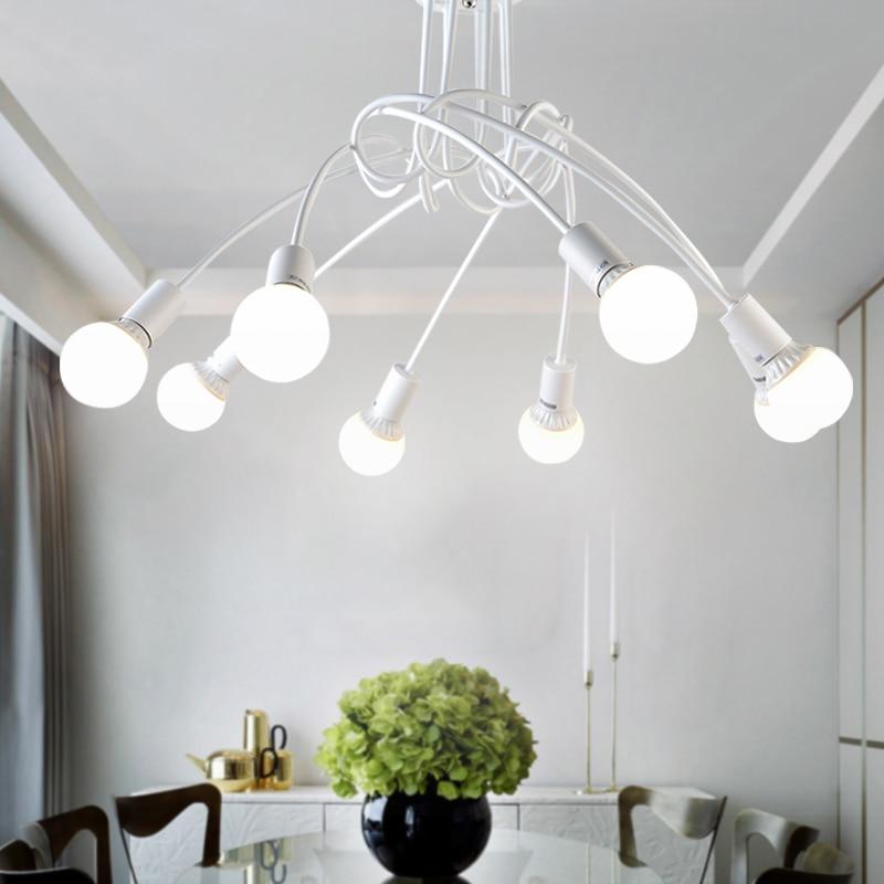 Lampes blanches noires, en fer forgé américain, décoration de la lampe de plafond salon moderne, E27 éclairage domestique