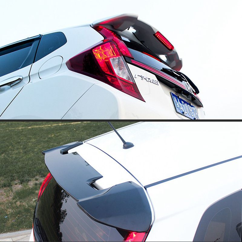 New Brand ABS Plastic Unpainted Primer Color Rear Boot Trunk Wing Spoiler Car Accessories For Honda Fit Jazz 2014 2015 2016 2017 fit for honda civic spoiler 2012 2013 2014 2015 car abs plastic unpainted primer rear wing spoiler