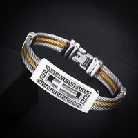 Men S Popular Jewelry Three Layer Wire Rope Golden Silver Bangle Men Jewelry For Couple Stainless