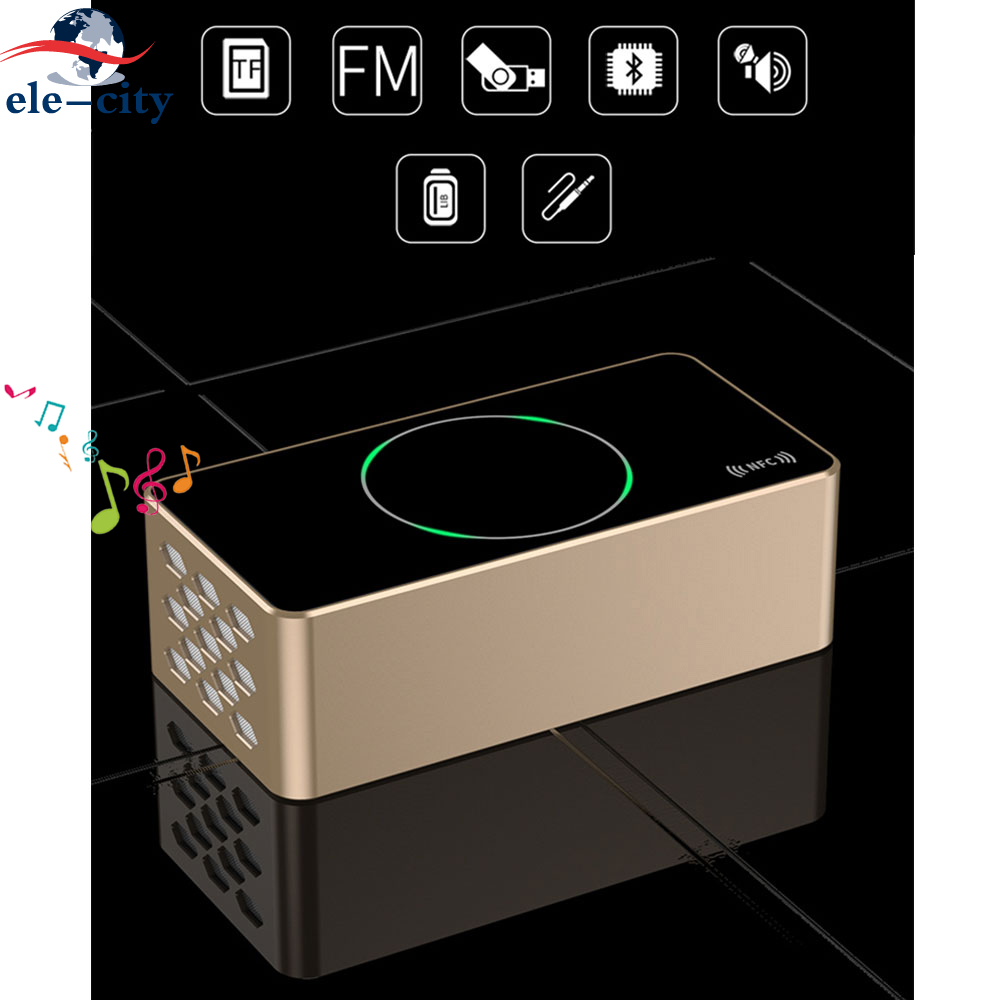 KR-8200A Smart Touch Control Bluetooth Stereo Speaker Subwoofer Wireless Bass Speakers NFC FM Radio AUX TF USB Drive For Xiaomi exrizu ms 136bt portable wireless bluetooth speakers 15w outdoor led light speaker subwoofer super bass music boombox tf radio
