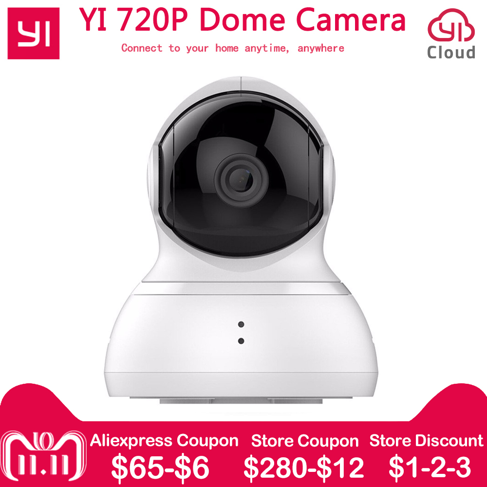 [international edition] xiaomi yi dome camera 1080p fhd 360 degree 112 wide angle pan tilt control two way audio yi dome camera [International Edition] YI Dome Home Camera Xiaomi 720P IP Camera 112 360 PTZ Control Pan/Tilt/Zoom Night Vision WiFi Webcam