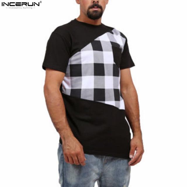 e08dad15633d INCERUN Men's O neck Plaid Long T Shirt StreetWear Hip Hop Short-Sleeve  T-shirt Men Extra Long Length Tee Tops with Side Zipper