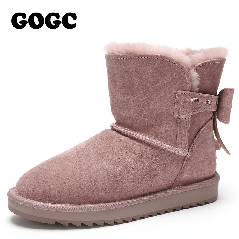 GOGC Winter Boots Women with Bow Plus Size 100% Genuine Leather Wool Winter Boots with Fur Snow Boots Women Brand Women's Boots