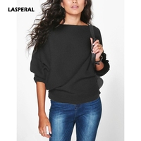 LASPERAL 2017 New Fall Winter Fashion Loose Batwing Sleeve Knit Sweater Women Casual Soft Pullovers Vintage