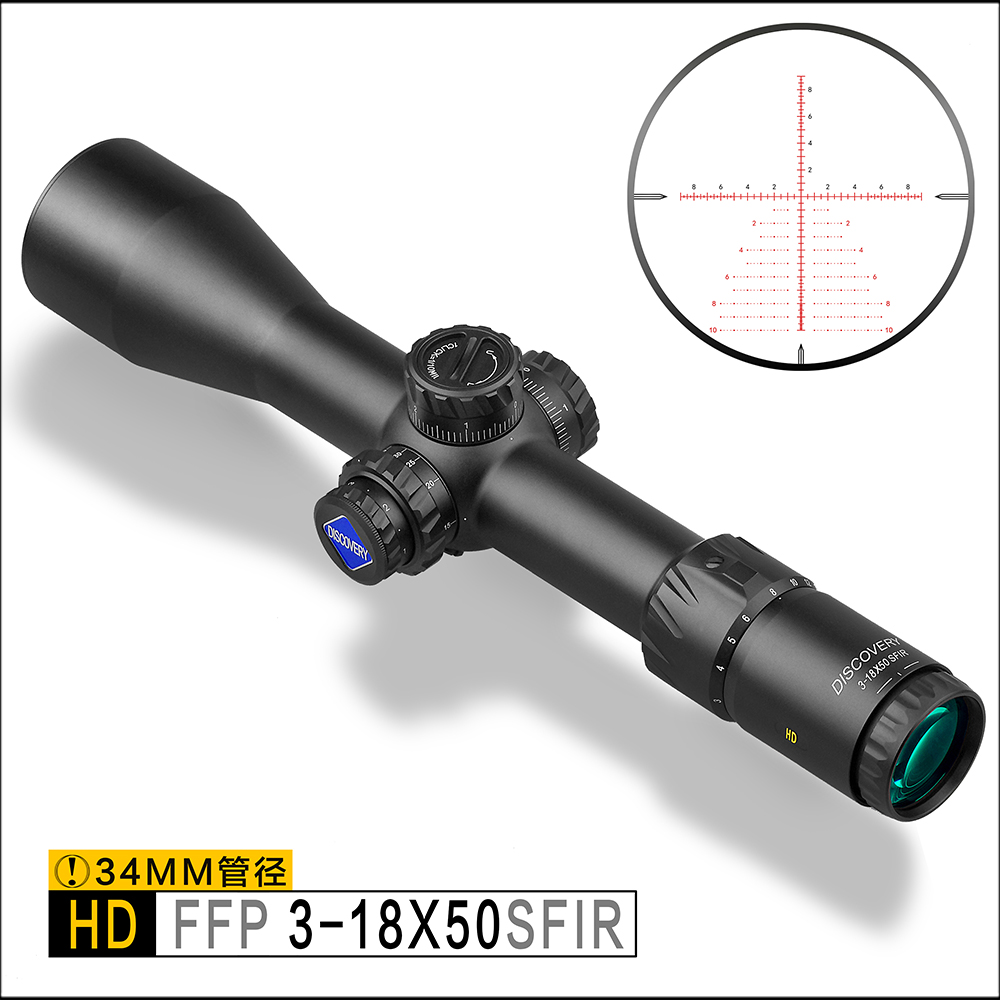 Découverte Tactique Mil-Mil Fusil Portée HD 3-18x50SFIR FFP 34mm Tube Ajustements Première Focale Forte résistance aux chocs
