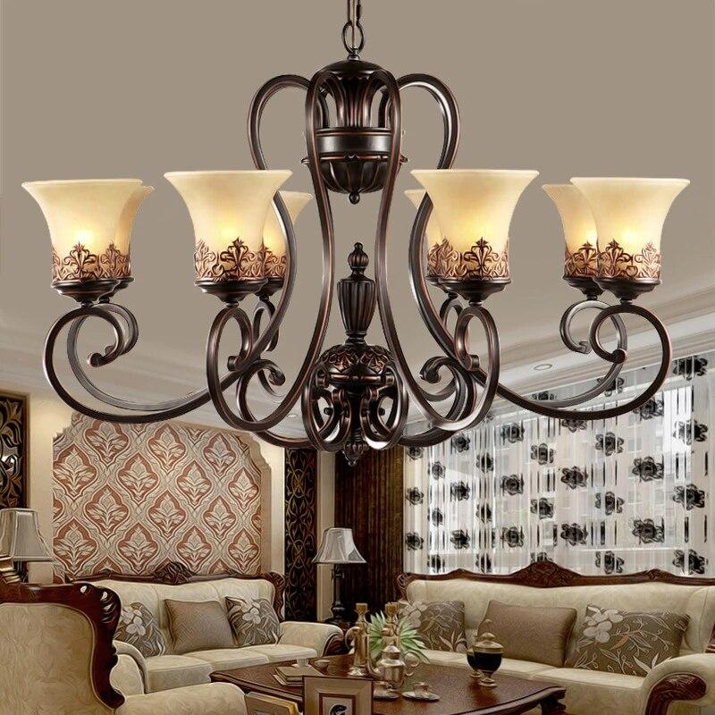 Luxury Classical Iron Chandelier Indoor Lighting Fixture Home Decoration Living Room Bedroom Modern Chandelier Metal Creative