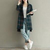 Women Ladies Vintage Retro Long Sleeve Check Plaid Tassel Shirt Turn Down Collared Top Blouse Autumn