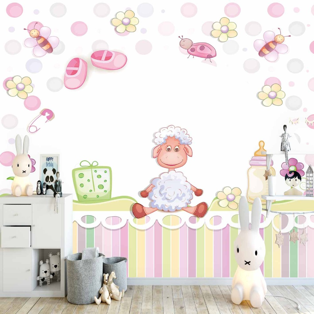 Else Pink Yellow Lines Baby Boots Lamps Flowers 3d Print Cartoon Cleanable Fabric Mural Kids Children Room Background Wallpaper