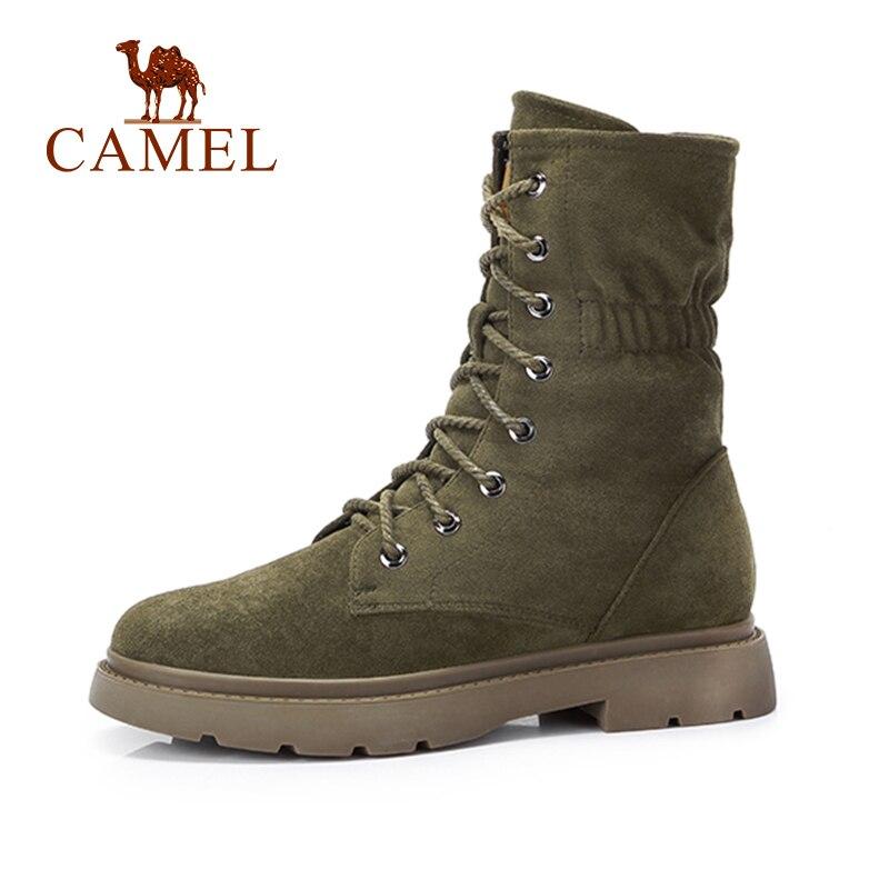 0fd1232e Camello moda botas cortas zapatos de las mujeres estilo coreano Martin botas  talón plano talón cabeza redonda botas antideslizantes zapatos Casuales en  ...