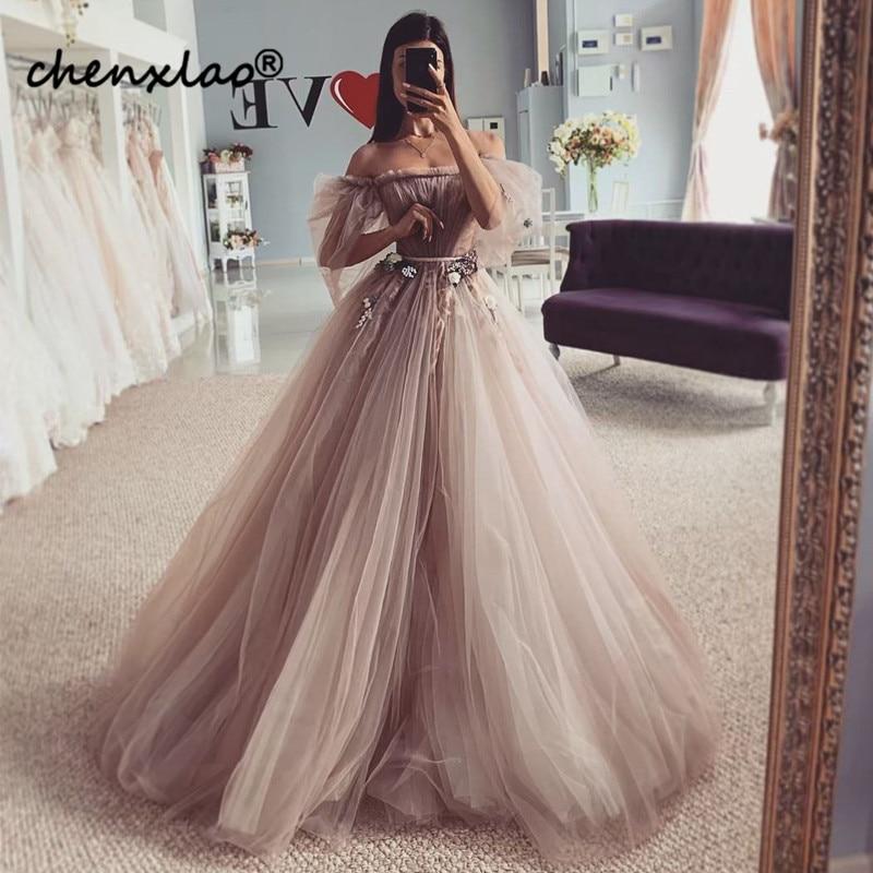 2019 New Listing Evening Dress Long Off The Shoulder Sleeve 3D Flower Floor Length Evening Dresses Formal Gowns Vestidos