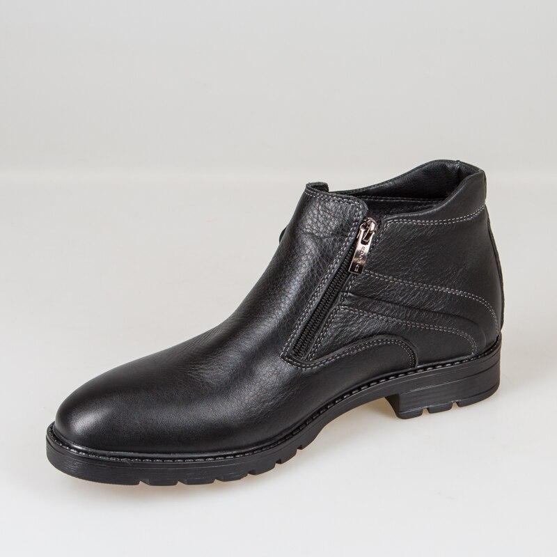 Кожаные мужские ботинки с отделкой из натурального меха - 4