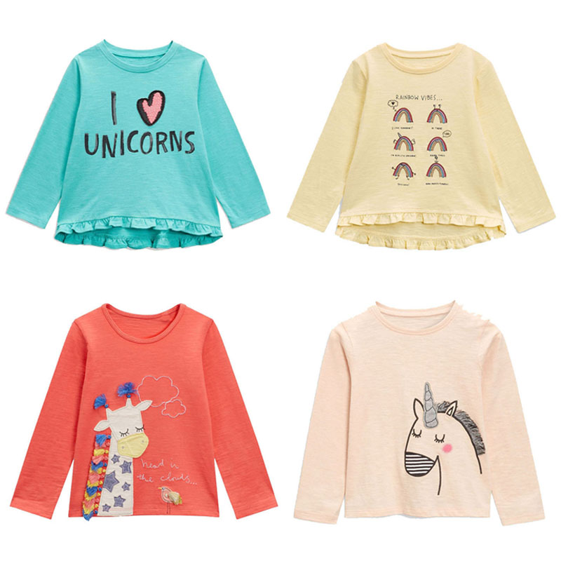 New 2018 Brand Quality Girls T-shirts 100% Cotton Baby Girl Clothes Long Sleeve Children Clothing Bebe Blouse Kids t Shirts Girl girl t shirt nova brand children t shirts printed striped girls t shirts long sleeve girls 2016 autumn t shirts for kids girl