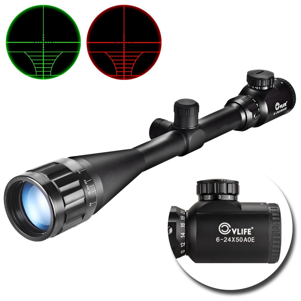 CVLIFE Optics Hunting Rifle Scope 6-24x50 AOE Red & Green Illuminated Crosshair Gun Scopes Riflescopes w/ Free Mounts 6 24x50 red