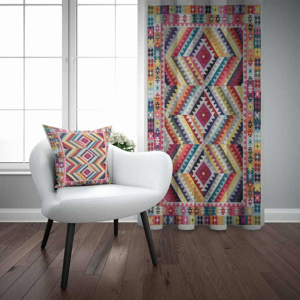Else Red Yellow Orange Kilim Lines Ethnic Geometric 3D Print Living Room Bedroom Window Panel Curtain Combine Gift Pillow Case
