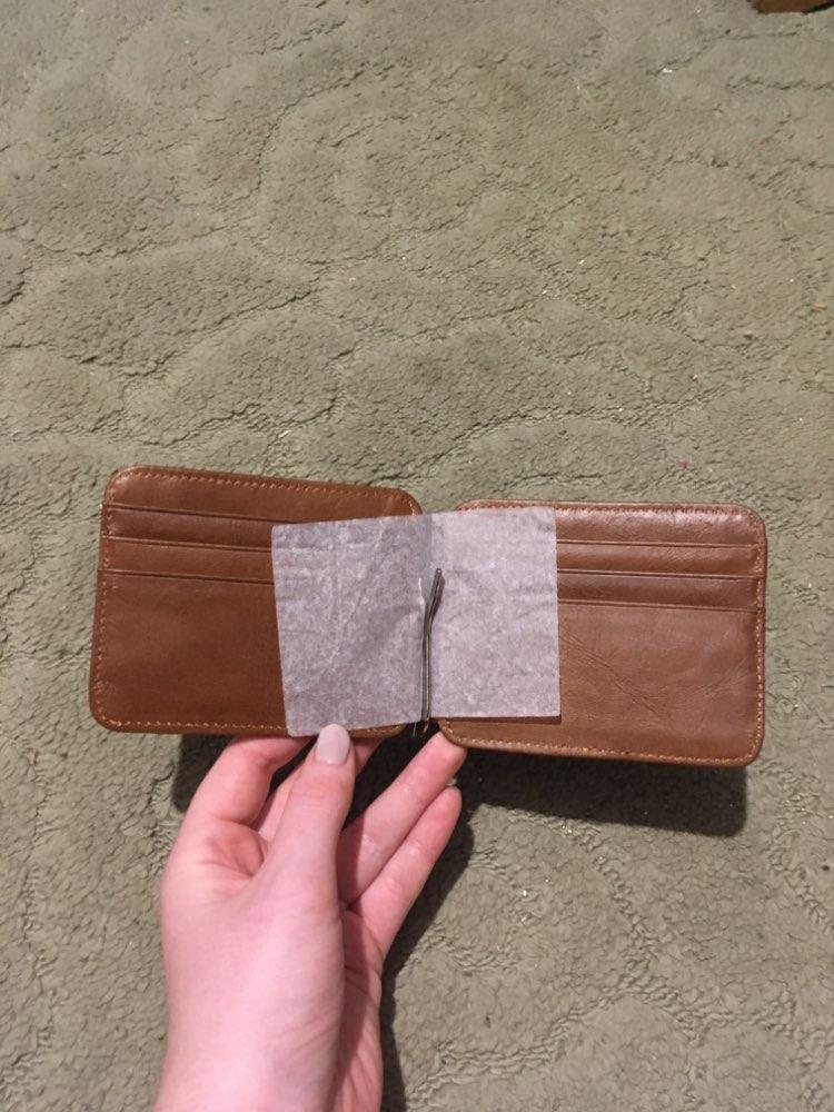 Vintage lederen portemonnee heren geld clip echte koe lederen Credit & ID houder voor mannen Retro geld geval man photo review