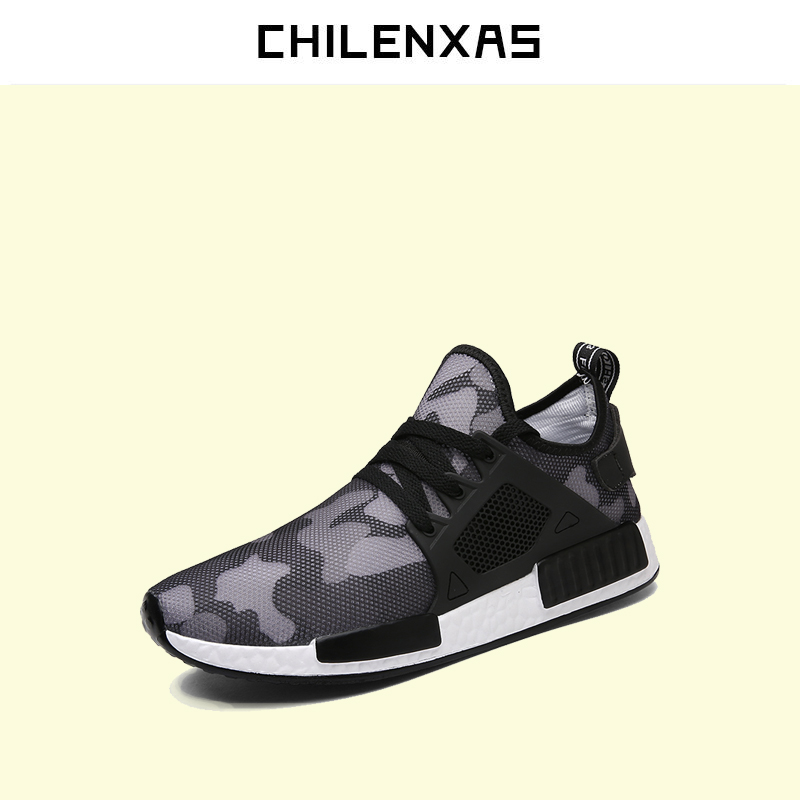 CHILENXAS 2017 New Fashion Men Casual Shoes Lace-up Flats Light Camouflage Spring Autumn Breathable Air Mesh Large Size 39-46 2017 new spring autumn men casual shoes breathable black high top lace up canvas shoes espadrilles fashion white men s flats