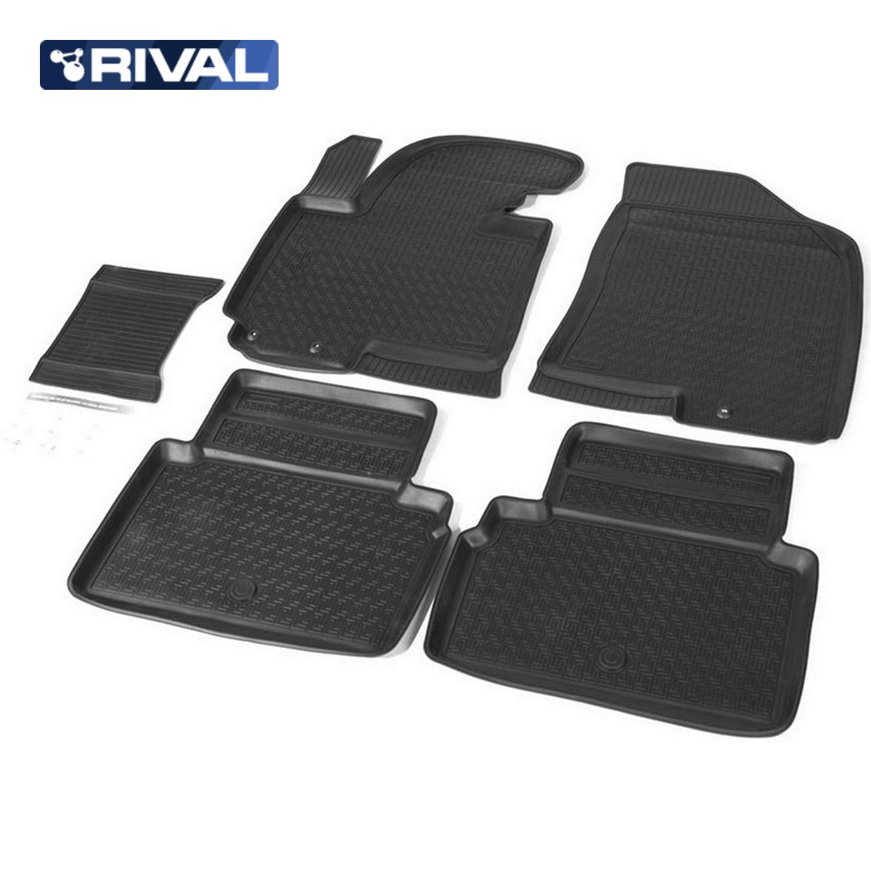For Kia Sportage III 2010-2015 floor mats into saloon 5 pcs/set Rival 12805001 цена