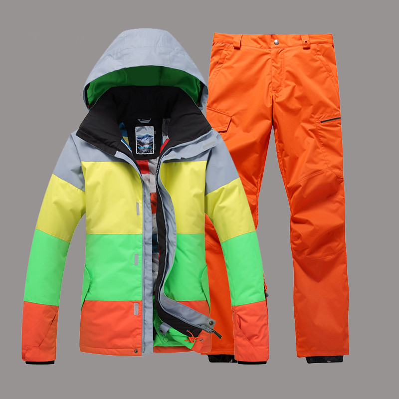 2018 GSOU SNOW Men Ski Suit Snowboard Jacket Pant Hooded Super Warm Outdoor Sport Wear Windproof Waterproof Breathable Winter men plus size 4xl 5xl 6xl 7xl 8xl 9xl winter pant sport fleece lined softshell warm outdoor climbing snow soft shell pant