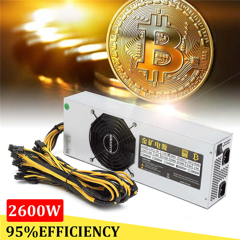 купить 95% Efficiency 2600W Mining Miner Power Supply Antminer For Eth Rig Ethereum Bitcoin Miner 110-240V 90 PLUS недорого