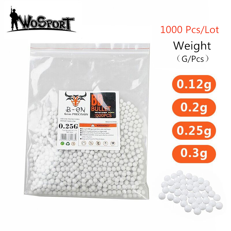 1000 Rounds Airsoft Paintball BBs Bullets 0.12g/0.2g/0.25g/0.3g Strike Ball Tactical Air Gun High quatity BB Balls for Shooting
