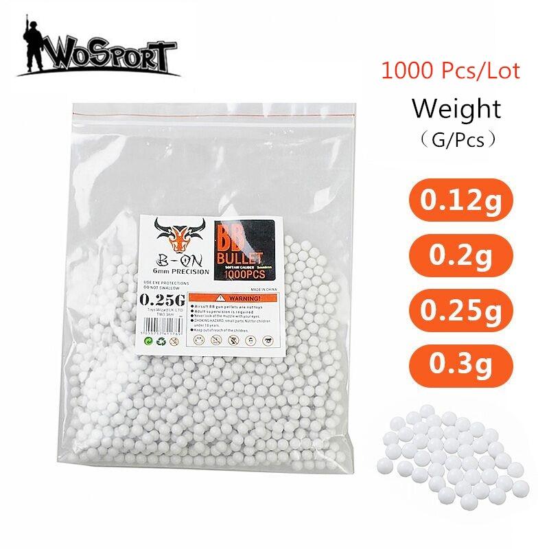 1000 Rounds Airsoft Paintball BBs Bullets 0.12g/0.2g/0.25g/0.3g Strike Ball Tactical Air Gun High Quatity BB Balls For Shooting