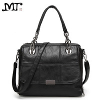 MJ Branded Women S Handbag Fashion European And American Style PU Leather Boston Bag Chess Pattern
