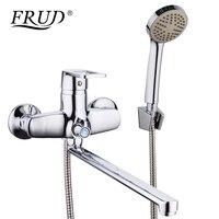 FRUD New 1 Set Bathroom Shower Faucet Set Chrome Bathtub Faucet Mixer Tap Wall Mounted Waterfall