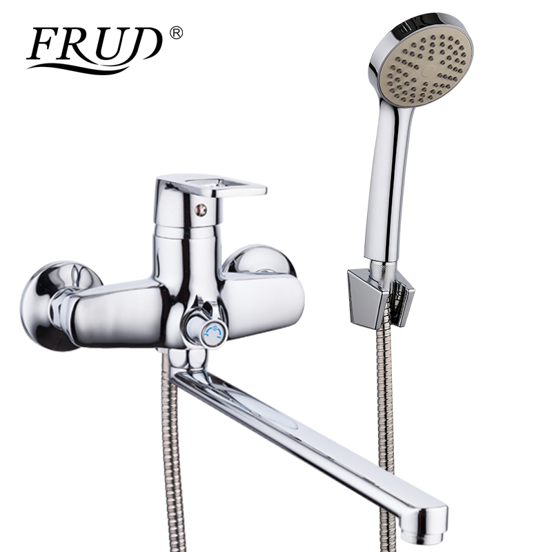 FRUD New 1 Set Bathroom Shower Faucet Set Chrome Bathtub Faucet Mixer Tap Wall Mounted Waterfall Bathtub Faucet With Hand R22072