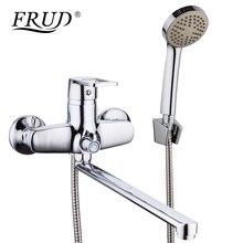 FRUD Новый 1 компл.. Ванная комната смеситель для душа набор хром ванна кран смесителя Настенный Водопад ванной кран с ручной R22072
