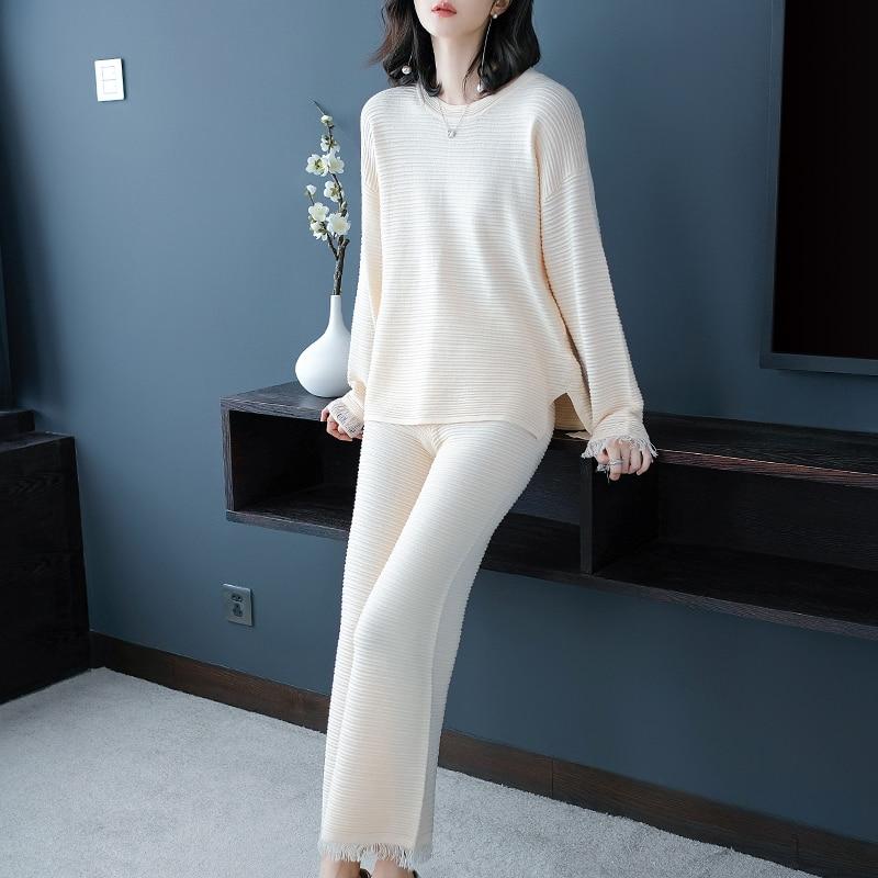 Осенние и зимние женские новые корейские широкие брюки вязаный костюм модный темперамент двухсекционный костюм