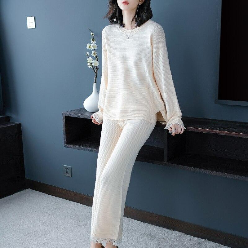 Осень и зима Для женщин новый корейский широкие брюки вязать костюм модный темперамент костюм из двух предметов
