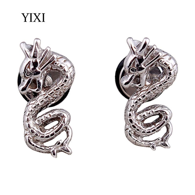 YIXI New 7x15mm Vintage Silver Dragon Earing Stainless Steel Ear Tragus Body Piercing Stud Earrings Gift Jewelry For Women Men