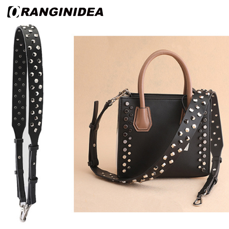 Replacement Handbag Straps Rivet Wide Strap for Shoulder Bags Cow Leather Fashion Lengthened Replacement Straps Bag Accessories цена
