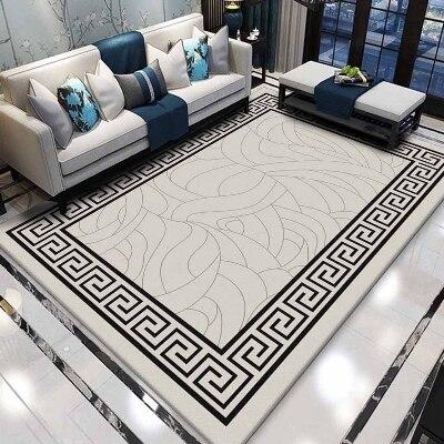 Autre plancher gris noir ethnique verrouillé Ikat Design 3d impression antidérapant microfibre salon décoratif moderne lavable zone tapis