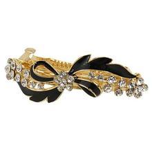 MYTL Rhinestone Black Bow Tie Clip Hair Barrette