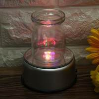 110V 220V Trophy Laser 3D Crystal Glass Lamp Base Battery Operated 4 LED Lights Rotating Display