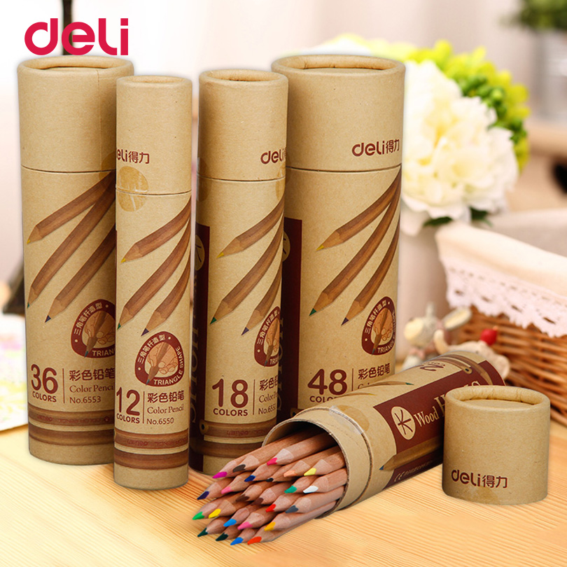 Deli  Wooden colored pen set Stationery for school supplies 12/18/24/36/48 Colors pencil artist Painting Drawing apices colores