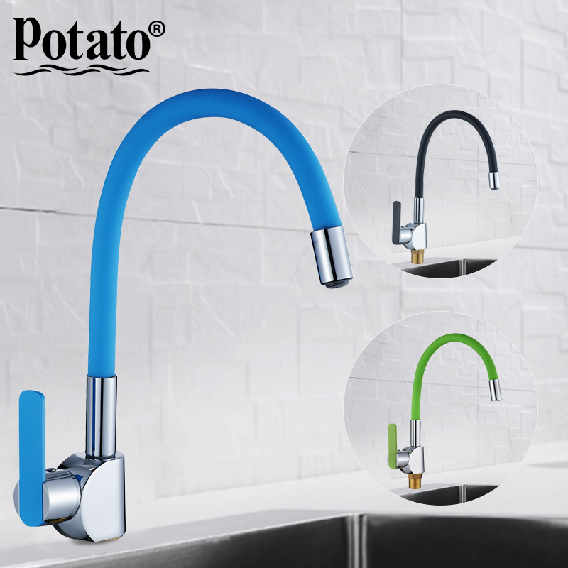 Potato 6 colors Silica Gel Nose Any Direction Rotating Kitchen Faucet Cold and Hot Water Mixer