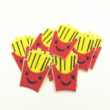 100pcs 6.0*4.0cm French Fries children Iron On Embroidered Patch For Cloth Cartoon Badge Garment Appliques
