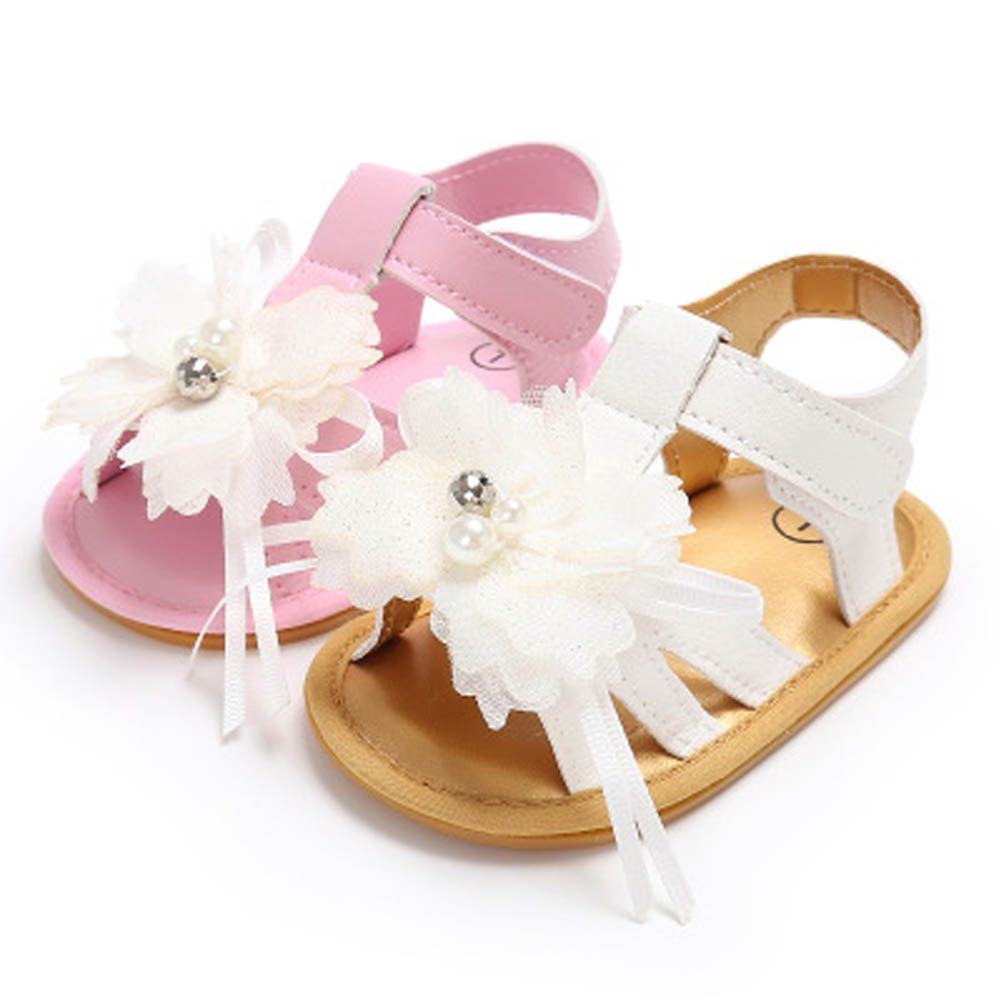 New Summer Baby Girl Shoes Cool Infant Skidproof Toddlers Flower Baby Shoes First Walkers White
