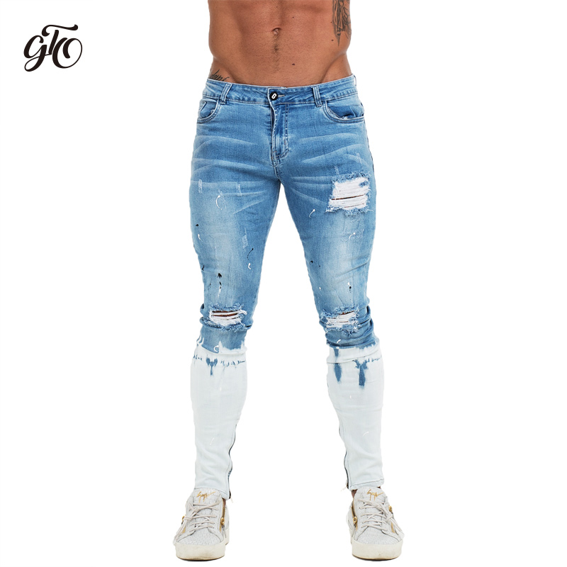 Gingtto Mens Skinny   Jeans   Blue Ripped Skinny   Jeans   Men Super Stretch Faded Color New Design Dropshipping Size 28/30/32/34/36