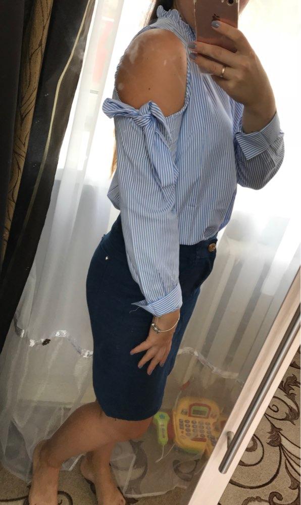 Jocoo Jolee Sexy Off-Shoulder Bow Blouse Fashion Striped Shirt Long Sleeve  Blouse Women Clothing High Street Wearing 2018
