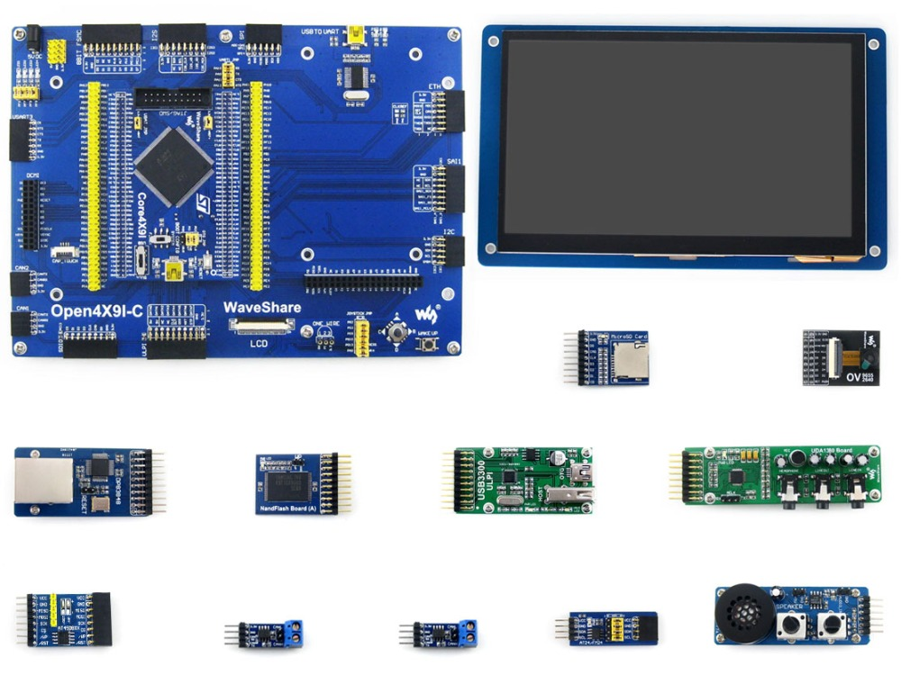 ARM STM32 Board Cortex M4 Open429I-C+7inch Capacitive Touch LCD Display Ethernet Module Camera Micro SD module Open429I-C Pack B stm32 development board stm32 board for stm32f429i mcu stm32f429igt6 arm cortex m4 7inch touch lcd 12 modules open429i c pack b