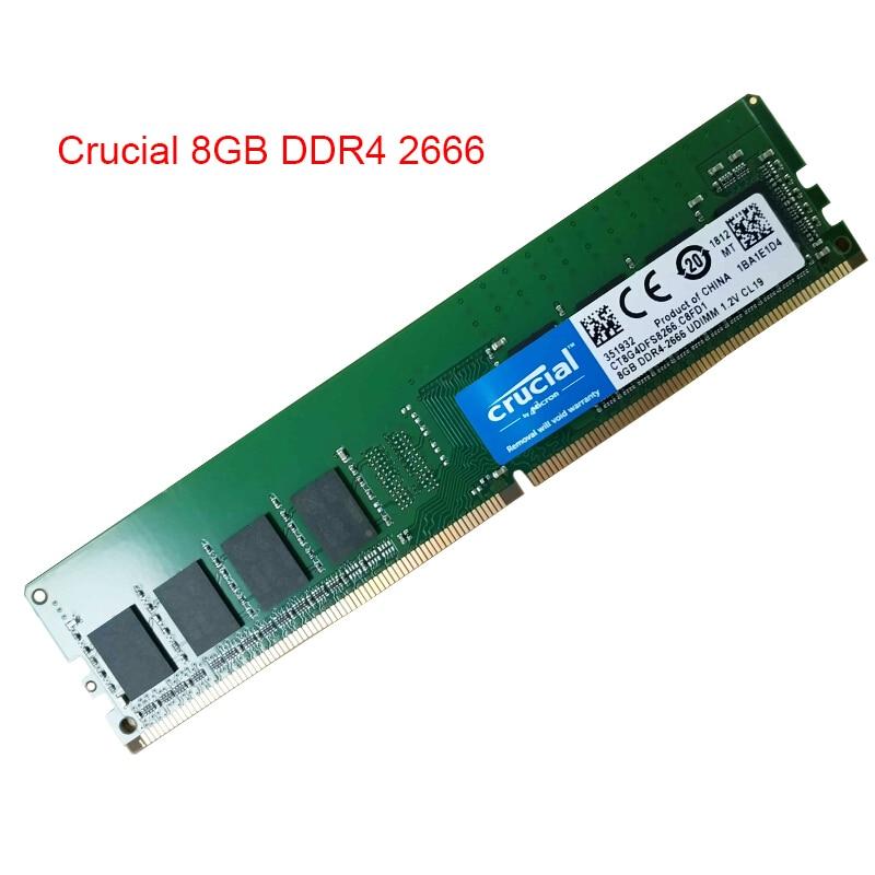 CRUCIAL 8 gb 16 gb DDR4 2666 mhz 288 Broches Mémoire RAM pour PC De Bureau DIMM 1.2 v Non ECC Compatible Avec 2133 RAM Garantie À Vie