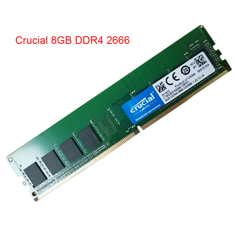 CRUCIAL 8GB <font><b>16GB</b></font> <font><b>DDR4</b></font> 2666MHz 288-Pin Memory RAM for Desktop PC DIMM 1.2V Non <font><b>ECC</b></font> Compatible With 2133 RAM Lifetime Warranty image