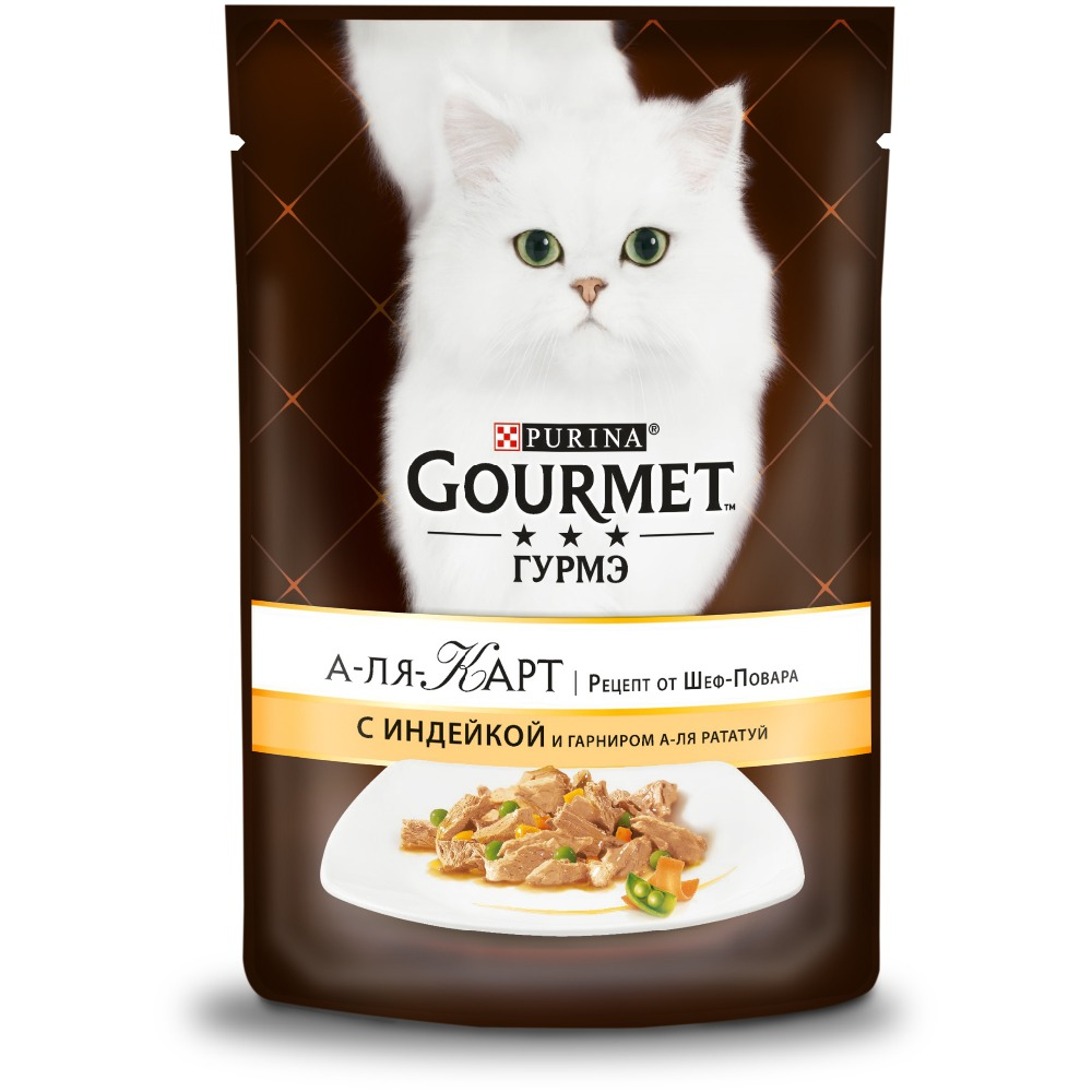 Wet food Gourmet A la Carte for cats with turkey and side dish a la Ratatouille, green peas and carrots, pouch, 24x85 g. over strand and field