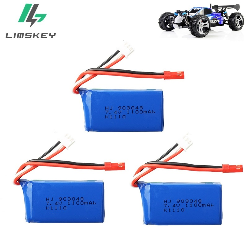 3Pcs For Wltoys A949 A959 A969 A979 K929 LiPo Battery 7.4V 1100mah 903048 25c Lipo Battery For RC Helicopter Airplane Cars Boats
